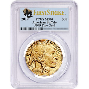 2019 Gold Buffalo 1oz ($50) .9999 Gold Coin MS70 FS PCGS Buffalo Label
