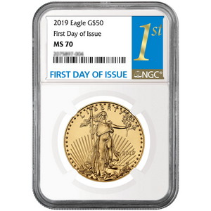 2019 Gold American Eagle 1oz ($50) Gold Coin MS70 NGC First Day Issue Label