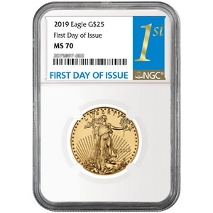2019 Gold American Eagle 1/2oz ($25) Gold Coin MS70 NGC First Day Issue Label