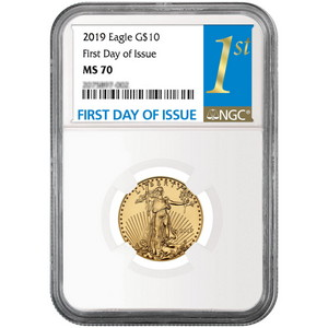 2019 Gold American Eagle 1/4oz ($10) Gold Coin MS70 NGC First Day Issue Label