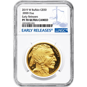 2019 W Gold Buffalo 1oz PF70 UC ER NGC Blue Label