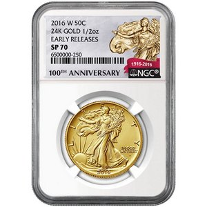 2016 W Gold Walking Liberty Centennial Coin Half Ounce SP70 ER NGC 100th Anniversary Label