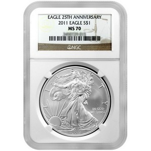 2011 25th Anniversary Silver American Eagle MS70 NGC Brown Label