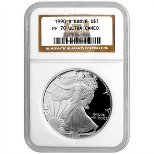 1990 S Silver American Eagle PF70 UC NGC Brown Label