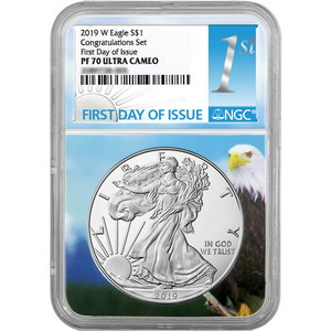 2019 W Silver American Eagle Coin from Congratulations Set PF70 UC FDI NGC Eagle Core 1st Label
