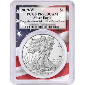 2019 W Silver American Eagle Coin from Congratulations Set PR70 DCAM FDI PCGS Flag Frame