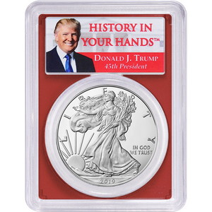 "2019 W Silver American Eagle Coin PR70 FDI DCAM PCGS Red Core Donald J. Trump ""History In Your Hands"" Label"