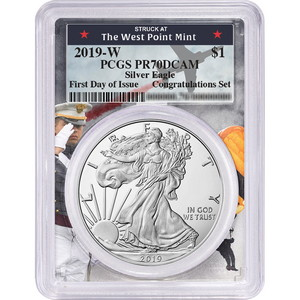 2019 W Silver American Eagle Coin from Congratulations Set PR70 DCAM FDI PCGS West Point Frame