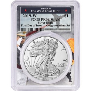 2019 W Silver American Eagle Coin from Congratulations Set PR69 DCAM FDI PCGS West Point Frame