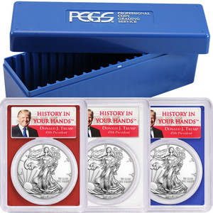 2019 Silver American Eagle MS70 PCGS Trump Label Red, White & Blue Frame 3pc Set in PCGS Storage Box