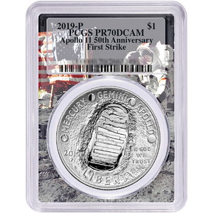 2019 P Apollo 11 50th Anniversary Proof Silver Dollar Coin PR70 FS DCAM PCGS Moon Landing Frame