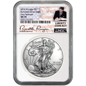2019 W Burnished Silver American Eagle MS70 ER NGC Liberty Coin Act Reagan Label