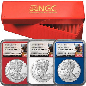 2019 S Silver American Eagle Coin PF70 UC FDI Red, White & Blue Core NGC Black Eagle Label 3pc Set in Red NGC Box