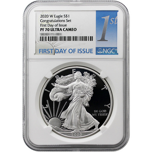 2020 W Silver American Eagle Coin from Congratulations Set PF70 UC FDI NGC 1st Label