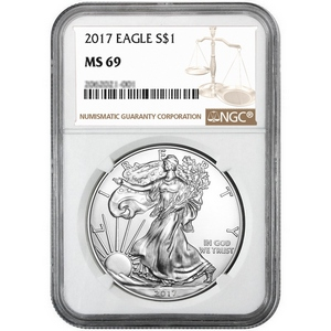 2017 Silver American Eagle MS69 NGC Brown Label