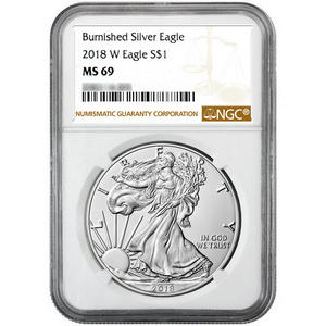2018 W Burnished Silver American Eagle MS69 NGC Brown Label