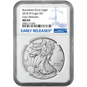 2018 W Burnished Silver American Eagle MS69 ER NGC Blue Label