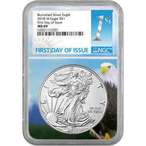 2018 W Burnished Silver American Eagle MS69 FDI NGC Eagle Core 1st Label