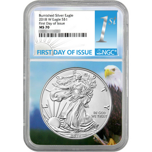 2018 W Burnished Silver American Eagle MS70 FDI NGC Eagle Core 1st Label