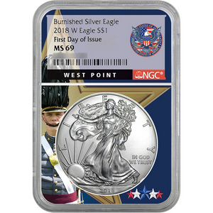 2018 W Burnished Silver American Eagle MS69 FDI NGC West Point Core FDI Label