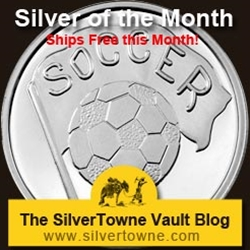 Soccer 1oz .999 Silver Medallion - The August 2014 Silver of the Month