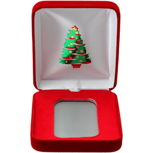 Christmas Tree Red Velvet Clamshell Gift Box for 5oz Bars