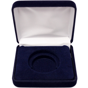 Dark Blue Velvet Clamshell Gift Box for 1oz Medallions and Rounds