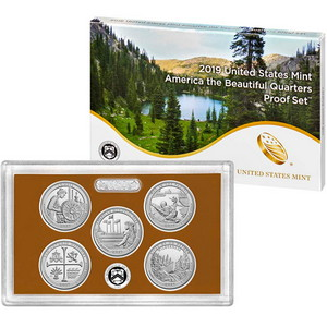 2019 S United States Mint 5pc America The Beautiful Quarter Clad Proof Set