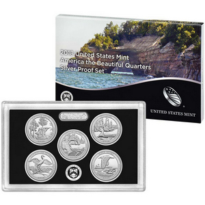 2018 S United States Mint 5pc America The Beautiful Quarter Silver Proof Set