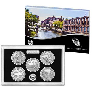 2019 S United States Mint 5pc America The Beautiful Quarter Silver Proof Set