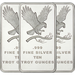 SilverTowne Trademark Eagle 10oz .999 Silver Bar 3pc