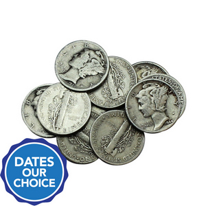 10pc Circulated Silver Mercury Dime Grab Bag Dates Our Choice
