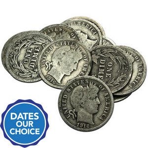 10pc Circulated Silver Barber Dime Grab Bag Dates Our Choice