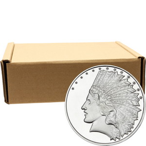 SilverTowne Trademark $10 Gold Indian Replica Struck in 1oz .999 Silver Medallion 500pc