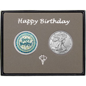 Happy Birthday Stripes Enameled Blue Silver Round and Silver American Eagle 2pc Gift Set
