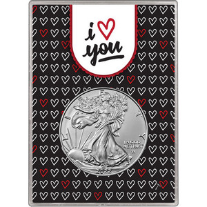2020 Silver American Eagle BU in I Love You Hearts Gift Holder