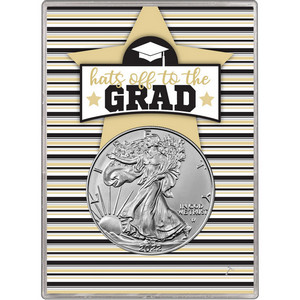 2019 Silver American Eagle BU in Hats Off to the Grad Gift Holder