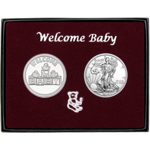 Welcome Baby Silver Round and Silver American Eagle 2pc Box Set