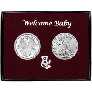 Welcome Baby Twins Silver Round and Silver American Eagle 2pc Box Set