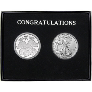 Congratulations Baby Twins Silver Round and Silver American Eagle 2pc Box Set