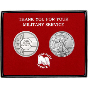 Military Service God Bless America Silver Round and Silver American Eagle 2pc Gift Set