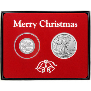 Merry Christmas Believe in the Magic of Christmas Half Ounce Silver Round and Silver American Eagle 2pc Box Gift Set
