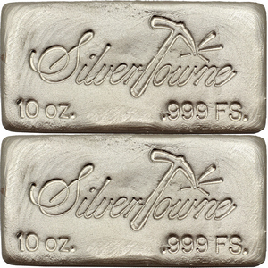 SilverTowne Poured 10oz .999 Silver Bar 2pc
