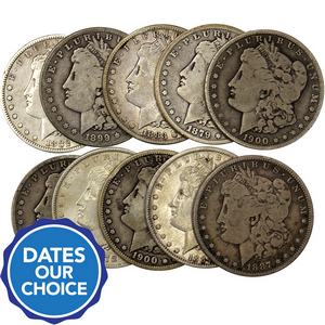 Pre-1921 Silver Morgan Dollars 10pc Dates Our Choice VG-VF