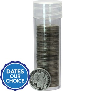 50pc Circulated Silver Barber Dime in Tube $5 FV Dates Our Choice