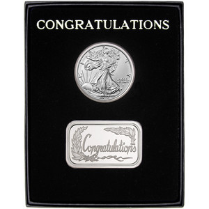 Congratulations Silver Bar and Silver American Eagle 2pc Gift Set