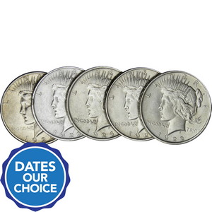Silver Peace Dollars 5pc Dates Our Choice VG-XF
