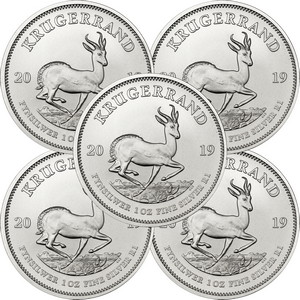 2019 South Africa Silver Krugerrand 1oz BU Coin 5pc
