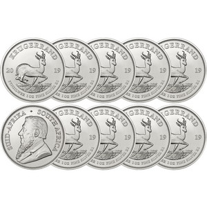 2019 South Africa Silver Krugerrand 1oz BU Coin 10pc