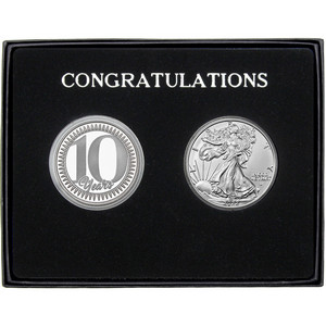 Congratulations 10 Years Silver Medallion and Silver American Eagle 2pc Gift Set